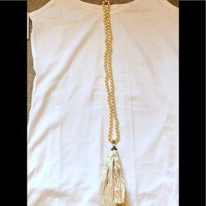 NEW, Pearl, Crystal, And Tassel Boho Necklace